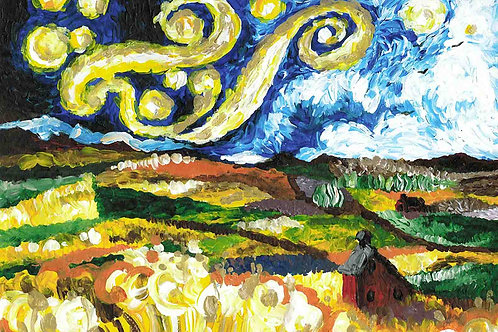 """Palouse Washington landscape in the style of """"Starry Night"""". Art by Danica Thurber"""