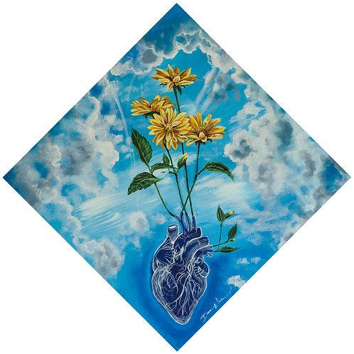 Anatomical heart, daisy art, yellow daisy wall art, diagonal frame, diamond shape frame, colorful art prints, Christian art