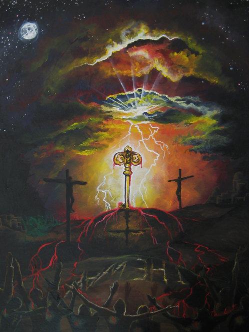 Cross art print, skeleton key, Easter art religious, skeleton key wall decor, colorful art prints, Christian art, Jesus art