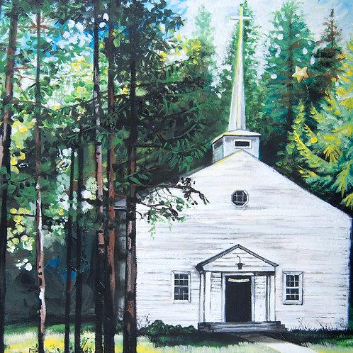 Church painting, woods, white church, spiritual art, acrylic painting, wedding gift, gift for bride, anniversary art