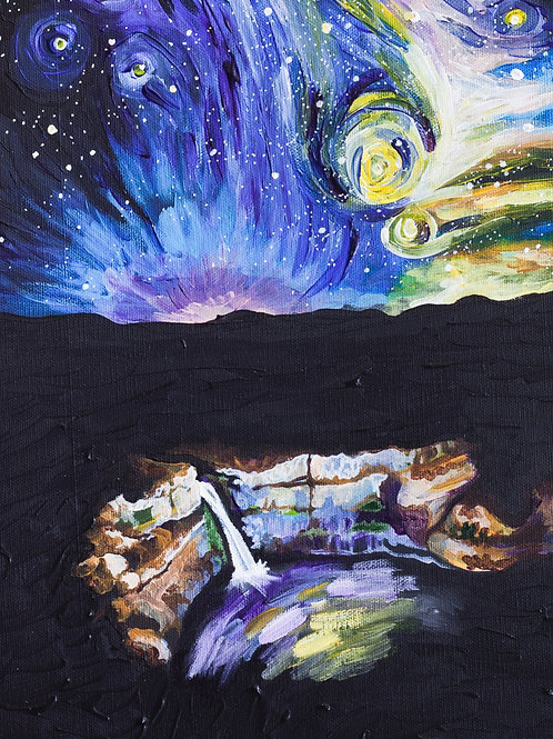 Starry night, waterfall, colorful painting, wall art, night sky, acrylic painting, night waterfall, gift for artist, Van Gogh