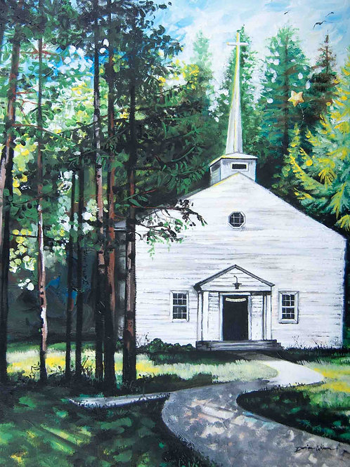 Little White Church. Happily Every After Wedding. Acrylic art by Danica Thurber