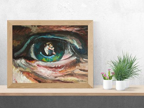 eye artwork, Psalm 139, Big eye with girl inside, Christian art,  apple of his eye, God sees you