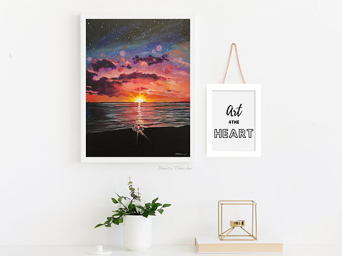 Beach painting, beach sunset, glitter painting, wedding art, colorful sunset, hawaiian sunset,