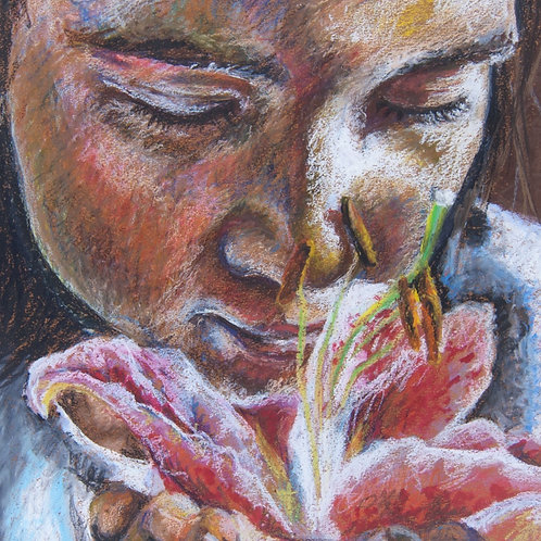 Pink tiger lily, Gardener gift, floral art print, brown girl art, smell the flowers, inspirational gifts women, tiger lily