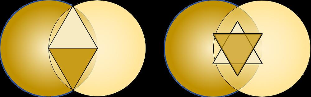 Die zwei gleichseitigen Dreiecke vereinigen Sich zu einem Sechseck