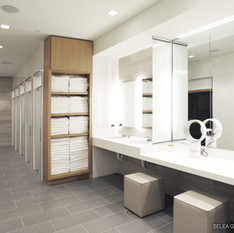 Fitness Center Locker Room Shower, Sauna, & Vanity Area