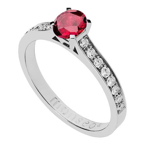 Anel Branco Branco com Diamantes e Rubi