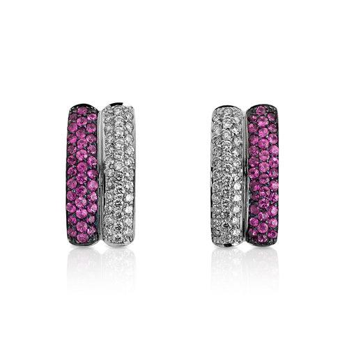 Brincos Ouro Branco Com Diamantes e Safiras Rosa