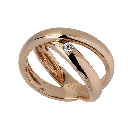 Anel ouro rosa com 1 diamante