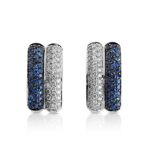 Brincos Ouro Branco Com Diamantes e Safiras Azuis