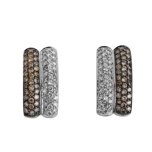 Brincos Ouro Branco com Diamantes e Diamantes Castanhos