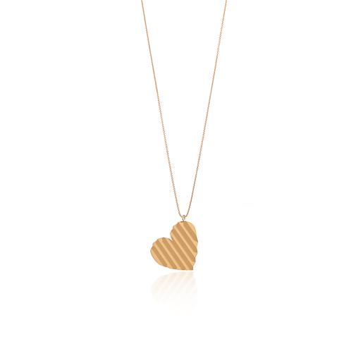 Colar Prata Dourada com Coração
