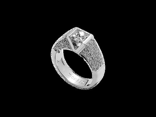 Anel Ouro Branco com Diamantes em Talhe Princes