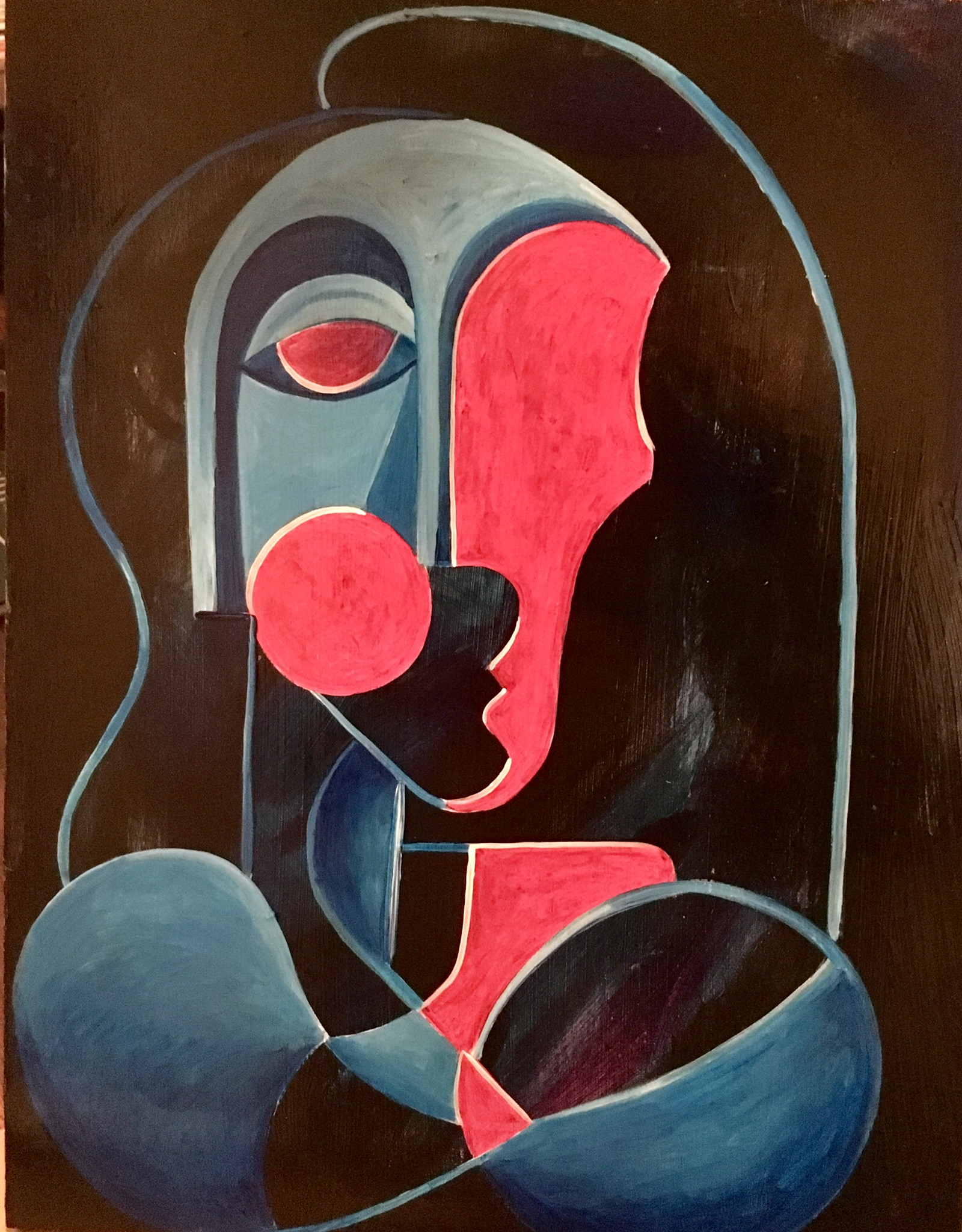 Female Bust in Blue and Magenta