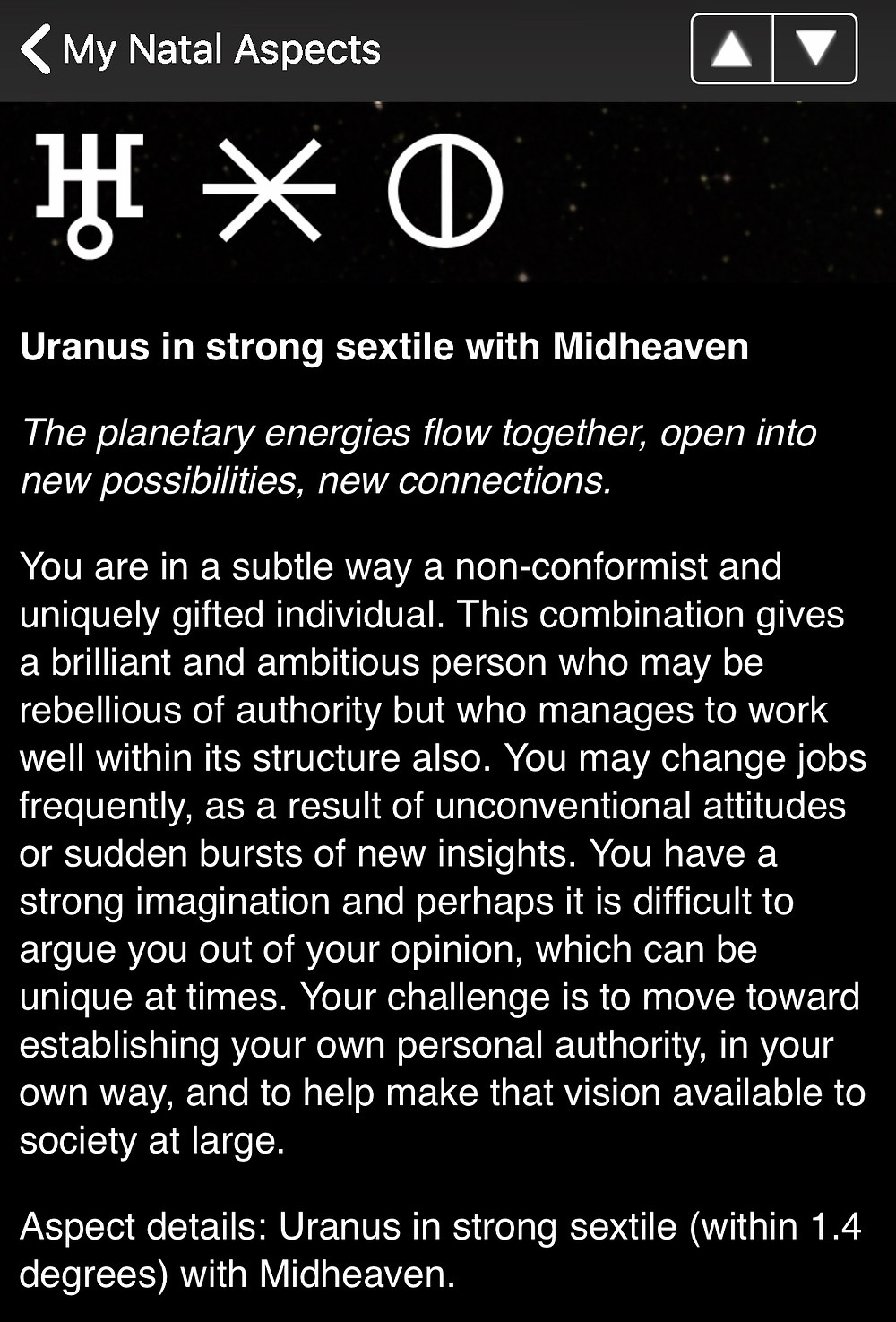 natal uranus in strong sextile with midheaven