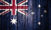 Australia flag painted on wood backgroun