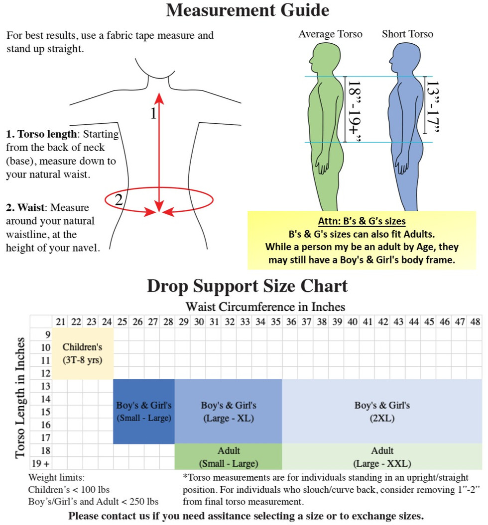 Drop Support Size Chart