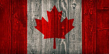 canada flag painted on old wood backgrou