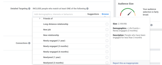 screenshot of facebook ads manager selecting demographic targeting for people who've recently gotten engaged