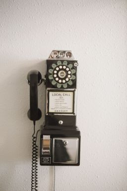 retro phone on the wall of marketing firm office in lethbridge alberta