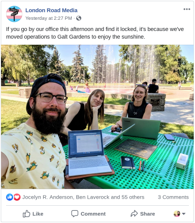 facebook post by london road media of employees working at the park