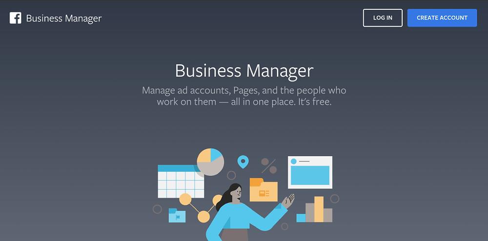 screenshot of facebook business manager login screen