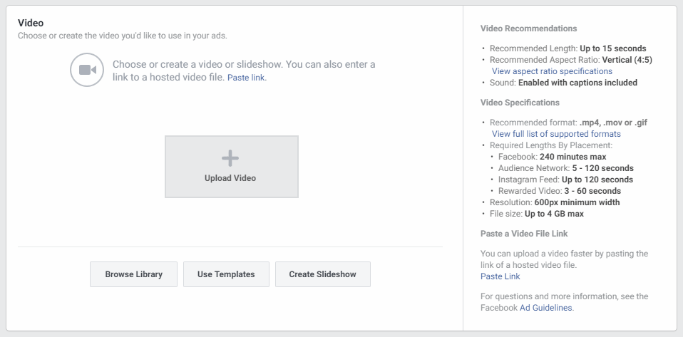 screenshot of uploading a video to a facebook ad