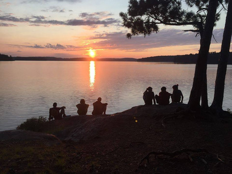 Sunset and campers