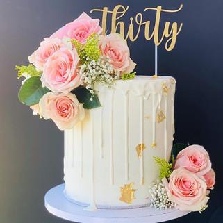 Fresh roses themed birthday cake. Checko