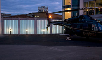 Glass facade at Battersea Heliport by Lumaglassazaar Manchester