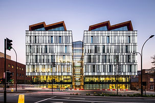 Illuminated glass facade by Lumaglass for Sheffield Hallam Charles Street