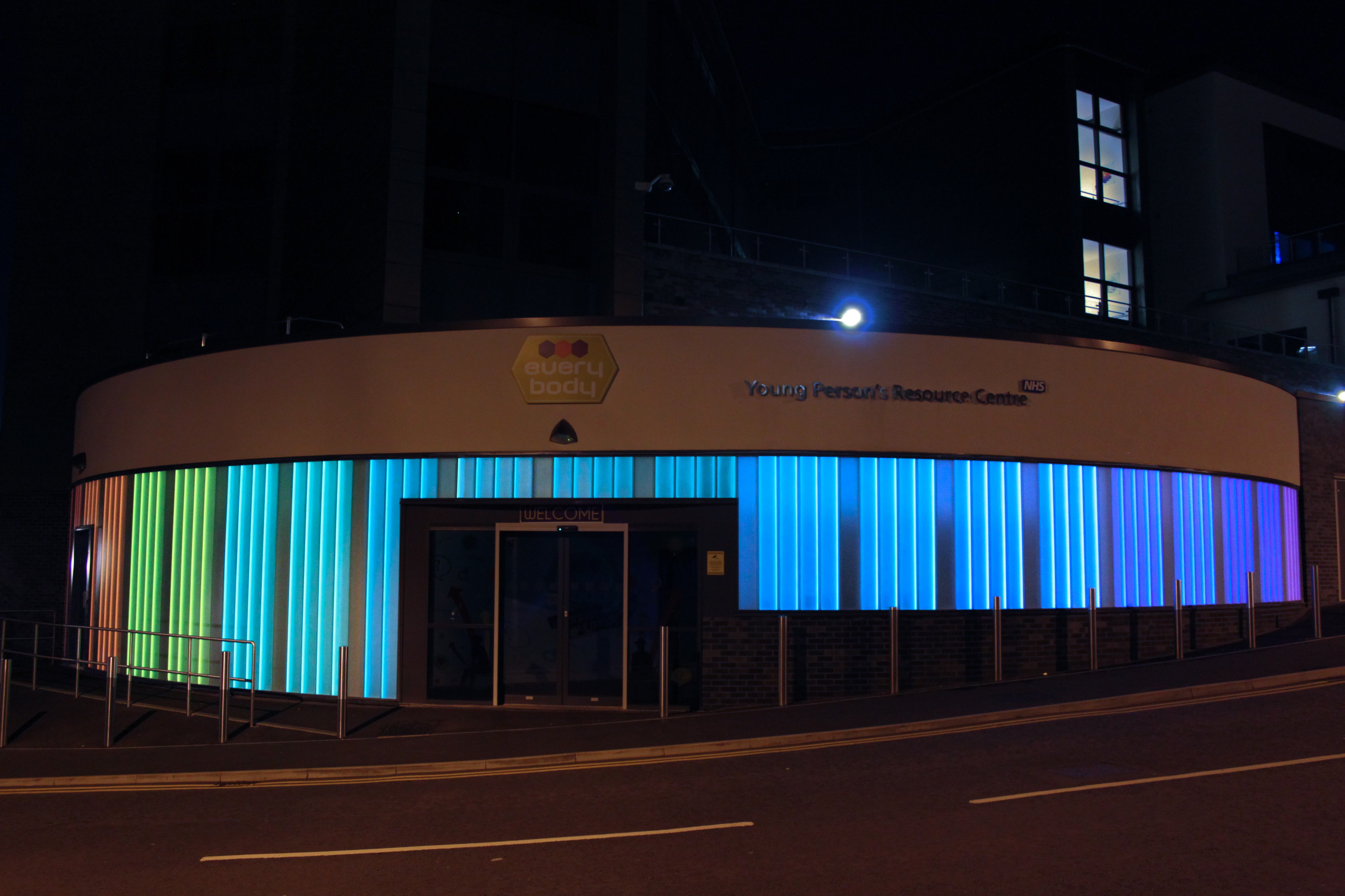Blackburn Resources Coloured Glass Wall