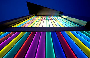 Coloured glass facade by Lumaglass