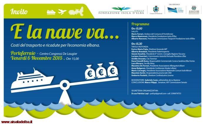 L'evento si svolgerà Venerdi 6 Novembre alle ore 15,00 nel Centro Congressi De Laugier a Portoferraio.