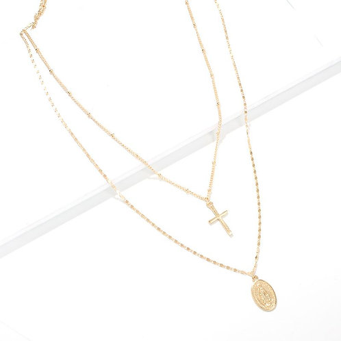 Gold, Religious layered necklace,