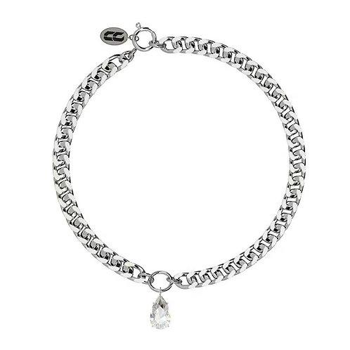 Chunky cuban link necklace single zircon tear drop stone