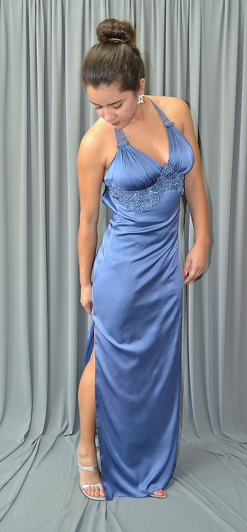Long Silk Blue Dress - 4021