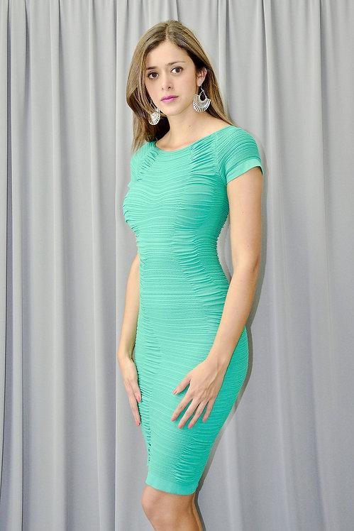 Green Smocked Bandage Dress - 6001