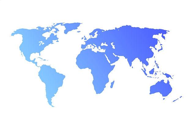 Blue World Map isolated on white backgro