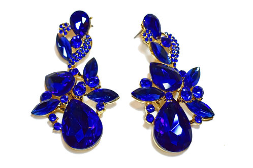 Beautiful Blue Crystal Rhinestone Chandelier Dangling Flower Earrings