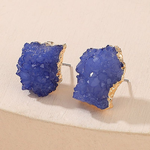 Fashionable cobalt blue, stud earrings, jagged quartz stone inspired, super light weight ,earrings with gold trim.