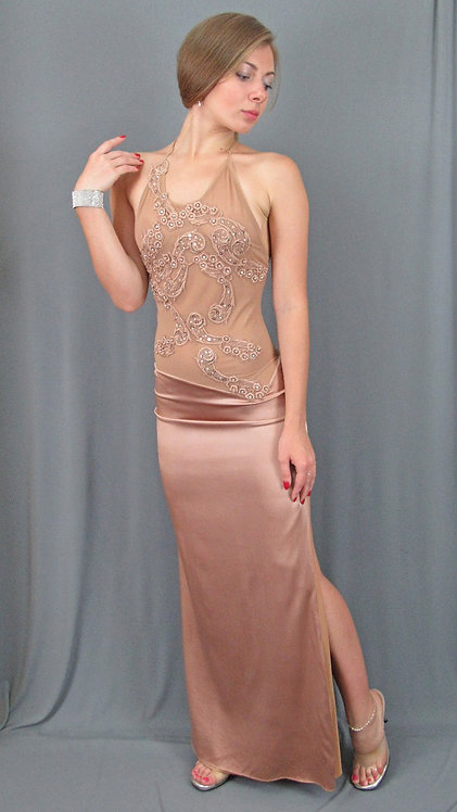 Beige Silk Charmeuse Long Dress with Swarovski Crystals - 40271
