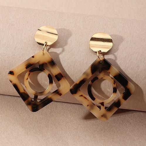 leopard print drop earring