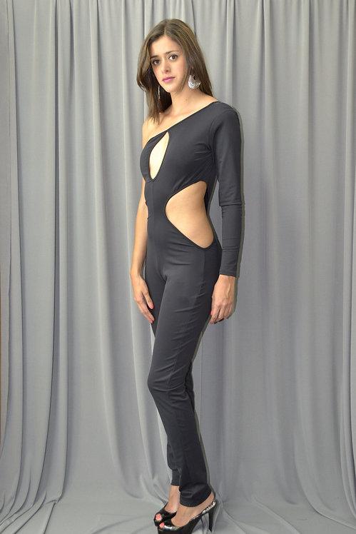 Black One Shoulder Catsuit - 6580