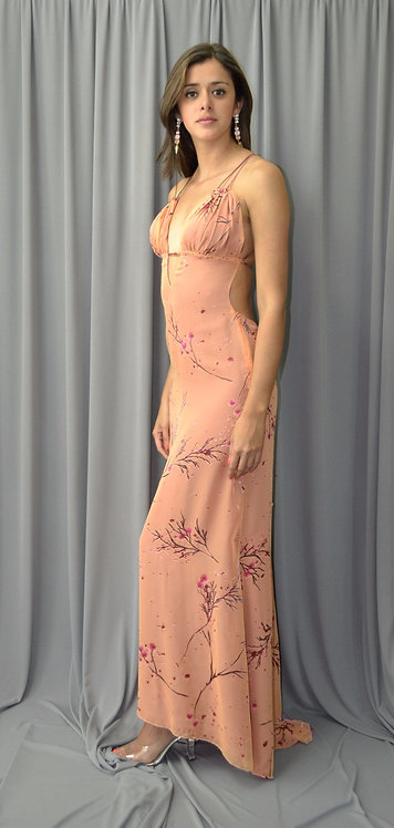 Long Peach Cocktail Dress -4416