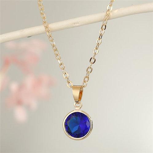 Blue rhinestone pendant, gold chain 19.6 inches
