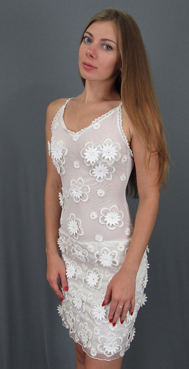 Silk Organza White Dress - 4101
