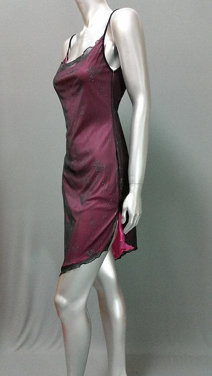 Black & Pink Asymmetrical Dress - 3121