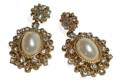 Oval Shape Dangling Stud Gold Earring